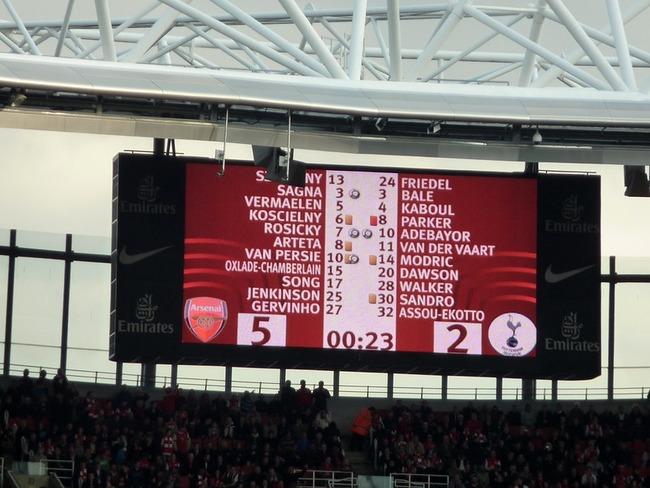 Scoreboard Arsenal Tottenham 5-2