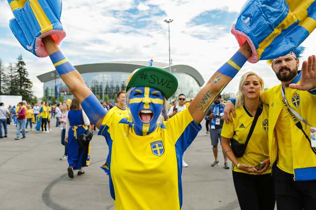 Swedish Football Fan Celebrating