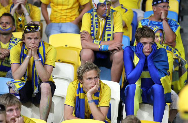 Swedish Football Fans Sad