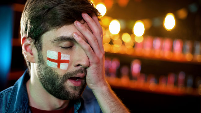 England Football Fan Head in Hands