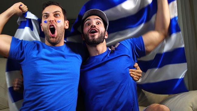 Greek Football Fans Celebrating