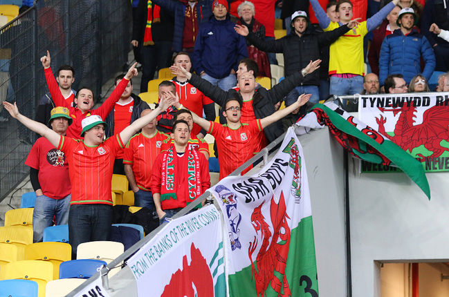 Welsh Football Fans Cheering
