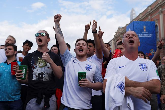 England football fans cheering