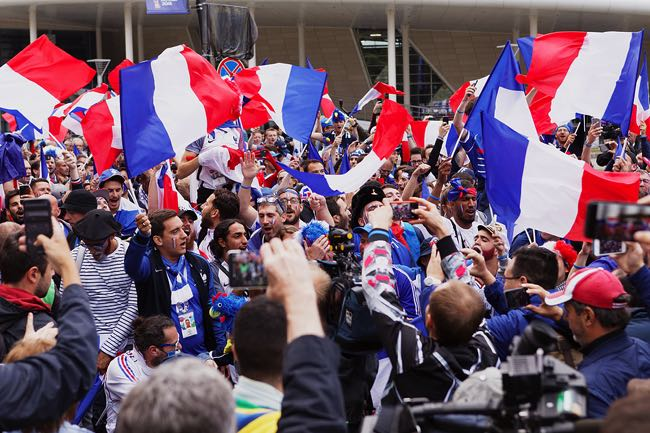 French football fans cheering
