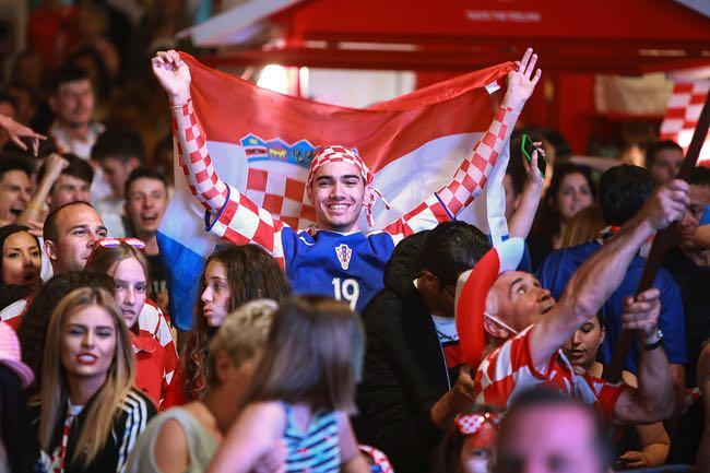 Happy Croatian football fans