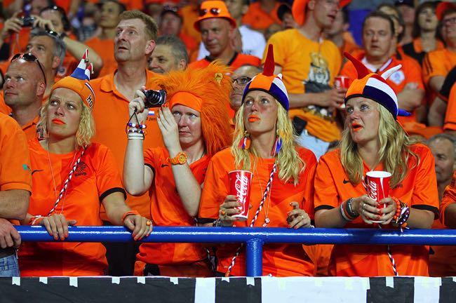 Sad Netherlands football fans