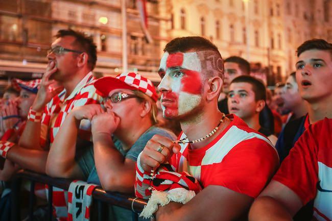 Sad Croatian football fans