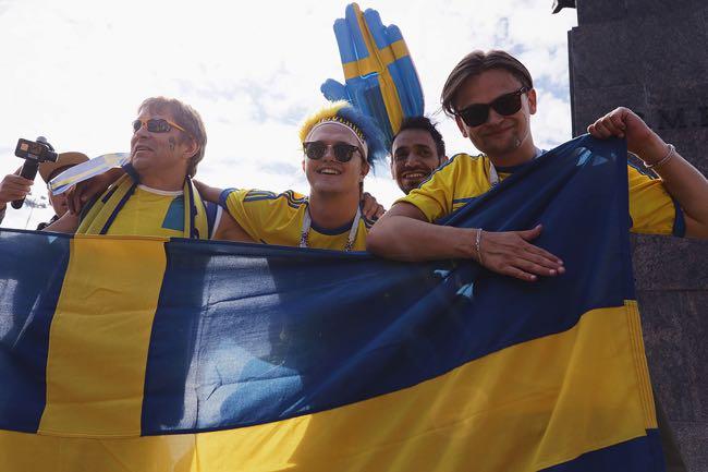 Happy Swedish football fans