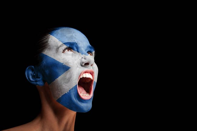 Scottish football fan with flag painted on face