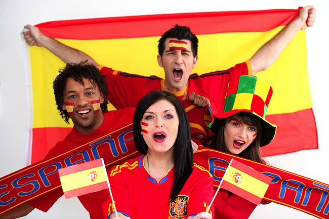 Excited Spanish football fans