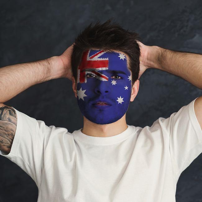 Australia football flag painted on face