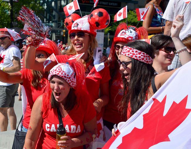 Happy Canadian football fans