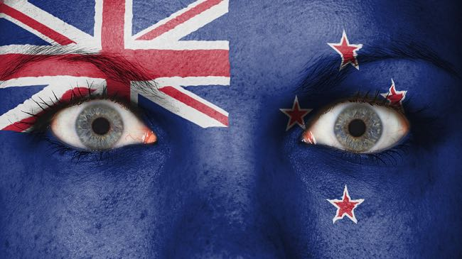 New Zealand flag painted on face