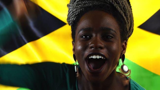 Happy Jamaica football fan