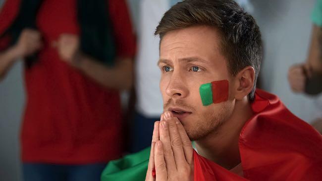 Worried Portugal football fan