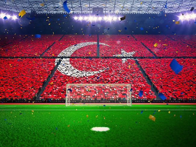 Turkish flag in a football stadium crowd